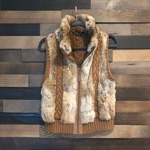 BCBG Rabbit Fur + Knit Vest - Size M
